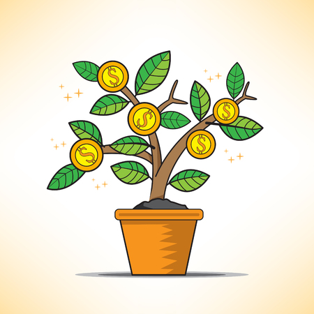grow money: money tree grow Illustration