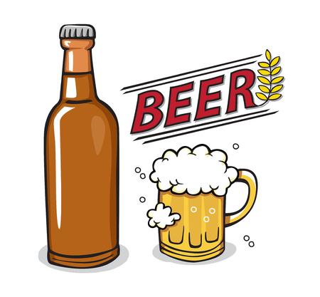 bock: Beer bottle glass drink Illustration