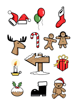 icons xmas  holiday symbols winter 1 Illustration
