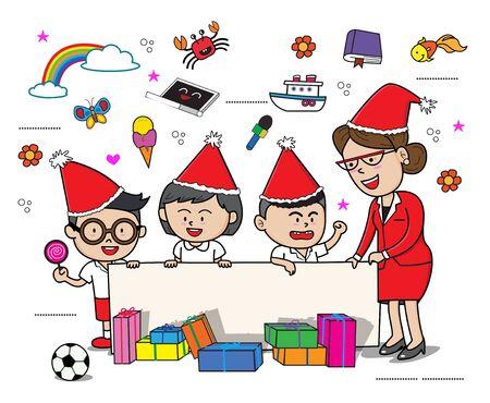 school kids teacher gift cartoon