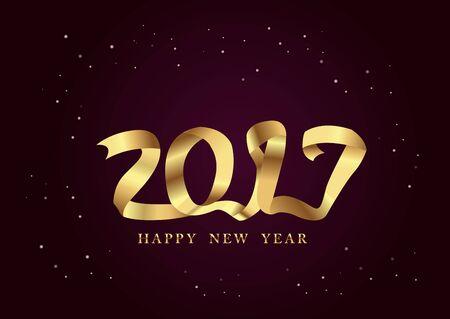 golden ribbon: 2017 New Year golden ribbon night