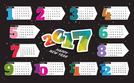 yearly: 2017 Calendar Planner Design Illustration