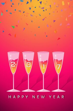 champagne glasses: new year party congratulating Illustration