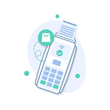 Plastic debit or credit card with a payment approved icon Çizim