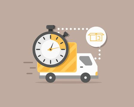 Express delivery, Shipping fast delivery truck with clock icon symbol