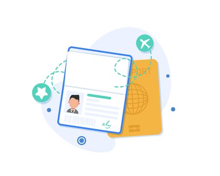 Flat design of passport icon. Vector template or mock up isolated on white background Illusztráció