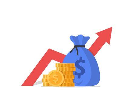 Performance finanziaria, report statistici, aumento della produttività aziendale Vettoriali