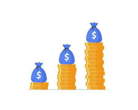 Income growth graph, return on investment chart, budget fund plan Vektoros illusztráció