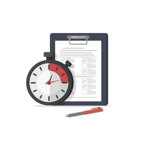 Fast service. Stopwatch with checklist and completed tasks