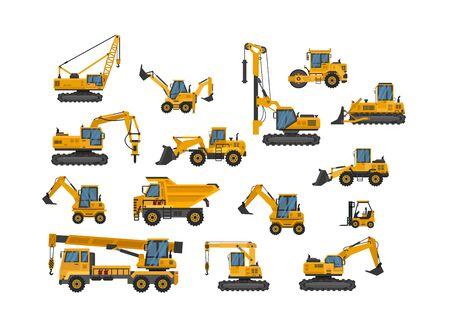 Duży zestaw ikon prac budowlanych. Maszyny budowlane. Maszyny specjalne do prac budowlanych