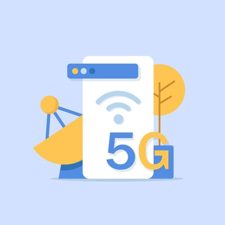 5G network wireless technology vector illustration, flat design icon vector illustration
