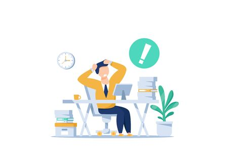 Tired and exasperated office worker,lot of work, Rush work. Flat style modern design Illustration