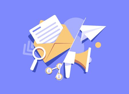 Email and messaging,Email marketing campaign,flat design icon vector illustration