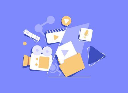 Engaging Content, content marketing success, marketing mix, social media sharing flat vector concept