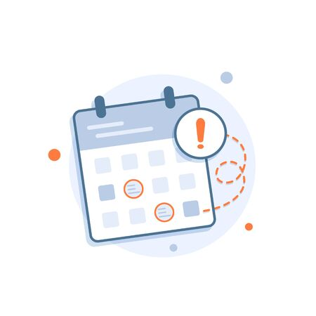 Calendar deadline or event reminder notification,flat design icon vector illustration