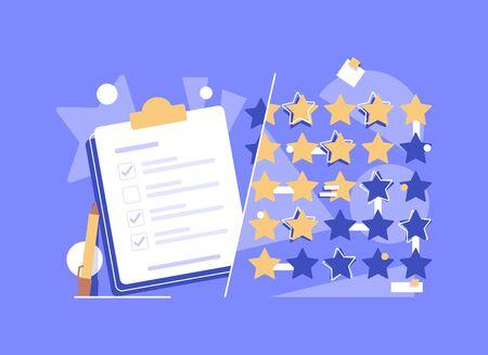 icono plano del concepto de recordatorio, clientes que eligen la calificación de satisfacción y dejan una revisión positiva