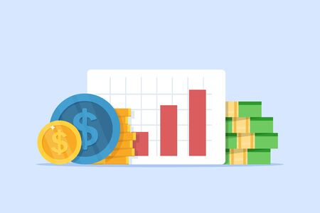 revenue increase,Compound interest, added value,flat design icon vector illustration