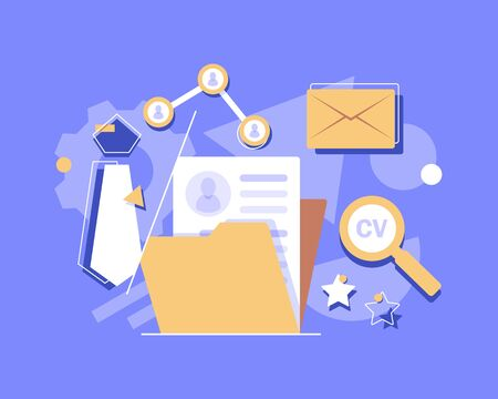 Concept Human Resources, Recruitment for web page, banner, presentation, social media, documents, cards, posters. Vector illustration filling out resumes, hiring employees, people fill out the form Illustration