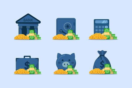 finance icons set,Safe box with money savings dollar coins banknotes