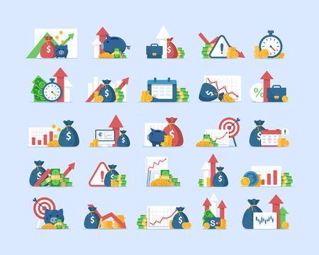 finance icons set,revenue increase,Compound interest, added value,flat design icon vector illustration Vektorgrafik