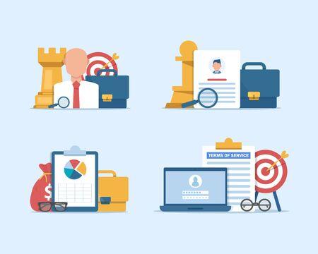 Human Resources, Recruitment Concept for web page,hiring employees, recruitment agency,flat design icon vector illustration Illusztráció