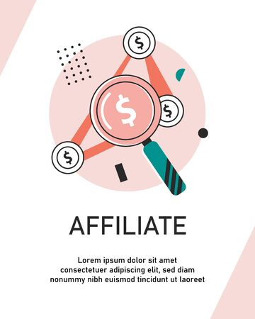 Affiliate marketing outline concept vector illustration. Flat business commercial and advertisement strategy using SEO Иллюстрация