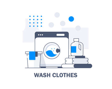 Washing machine and towels linen isolated,Equipment housework laundry wash clothes. Washer and flying bubbles in flat style Ilustrace