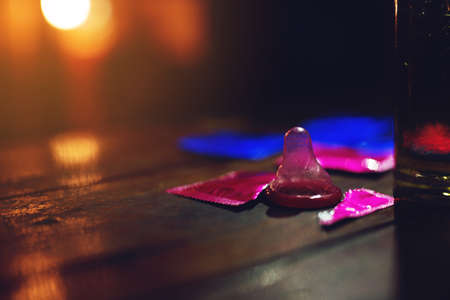 Condoms in liquor stores in angle of image blur ,World AIDS Day