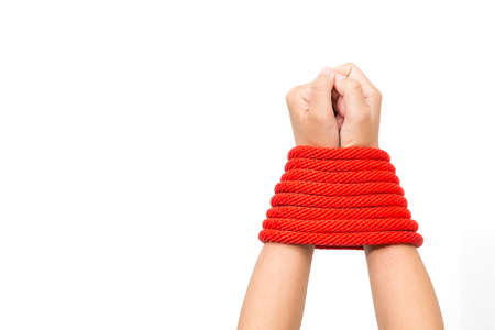 Tied hands red,Isolated on white background