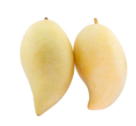 Ripe mango fruits (Mangifera) isolated on white background Stock Photo