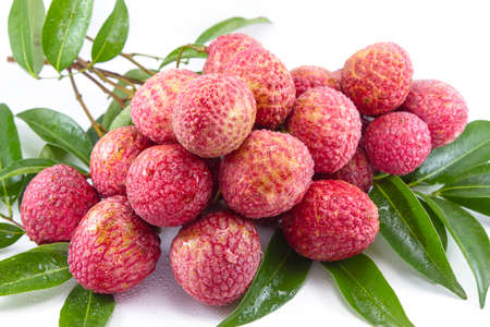 Fresh lychee on table with day light Stock Photo