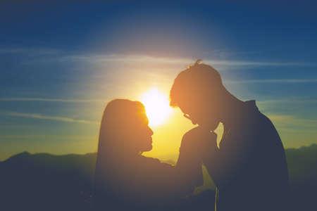 sillhouette couple love.Summer in love