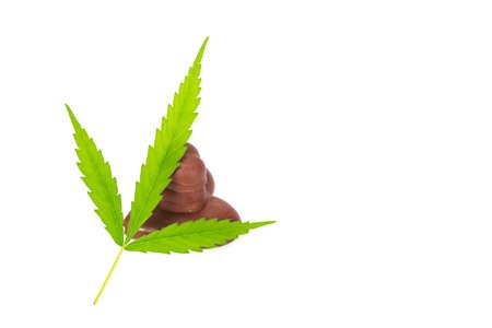 Chocolate  with marijuana leaf isolated on white background.