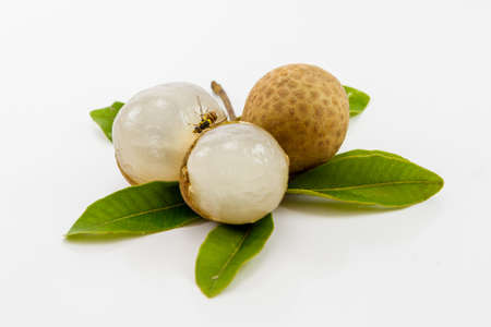 Longan (Dimocarpus longan) on white background Stock Photo