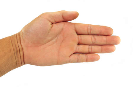 Open male hand on white background.Isolated.