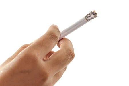 Woman hand holding a cigarette isolated on a white background