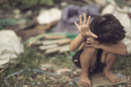 slave labor: Stop abusing boy violence , Human Rights Day concept.