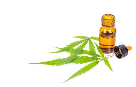 Medical Cannabis ( Marijuana ) oil  isolated on white background Stock Photo