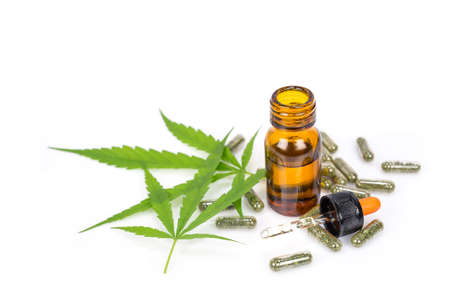 Medical Cannabis ( Marijuana ) oil  isolated on white background Banque d'images