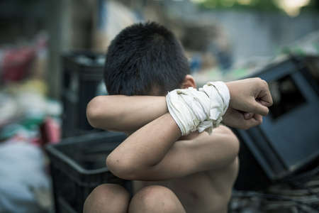 dissuade: Stop abusing boy violence , Human Rights Day concept.