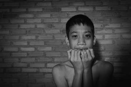 Stop abusing boy violence. violence, child bondage, Human Rights Day concept.