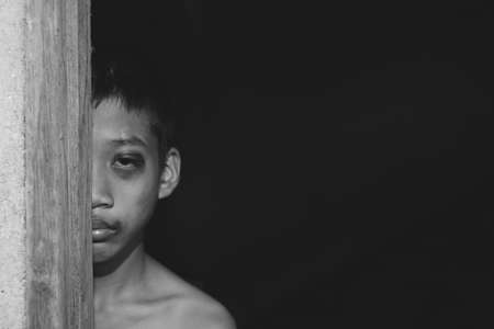 convicts: Stop abusing boy violence. violence, child bondage, Human Rights Day concept.