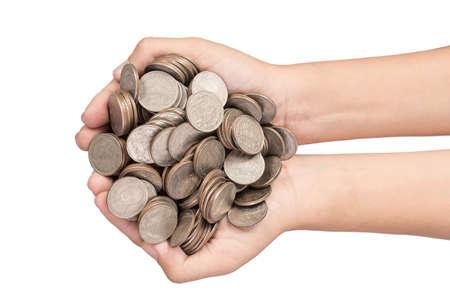 box size: Baby Hand Holds Money Investing.  Stock Photo