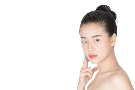 Woman Touching Beauty her Face, Facial treatment , Cosmetology , Beauty and spa , Pure Beauty Model. Youth and Skin Care Concept, isolated on white background Stock Photo