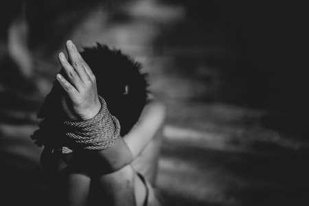 Human trafficking of children, Children trafficking concept. Imagens