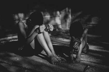 Human trafficking of children, Children trafficking concept. Stockfoto