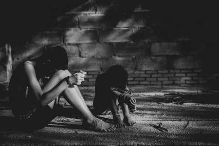 Human trafficking of children, Children trafficking concept. Banco de Imagens