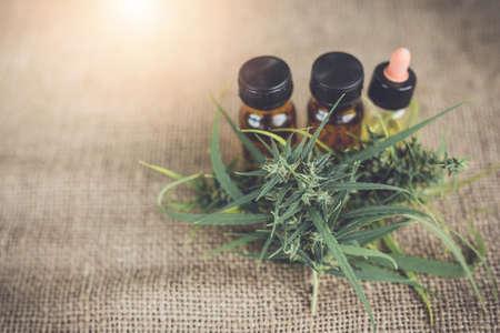 Cannabis oil, CBD oil cannabis extract, Medical cannabis concept. Stock Photo