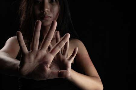 Stop violence against women. Concept violence against. 版權商用圖片
