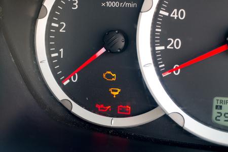 light engine show on dashboard car Foto de archivo